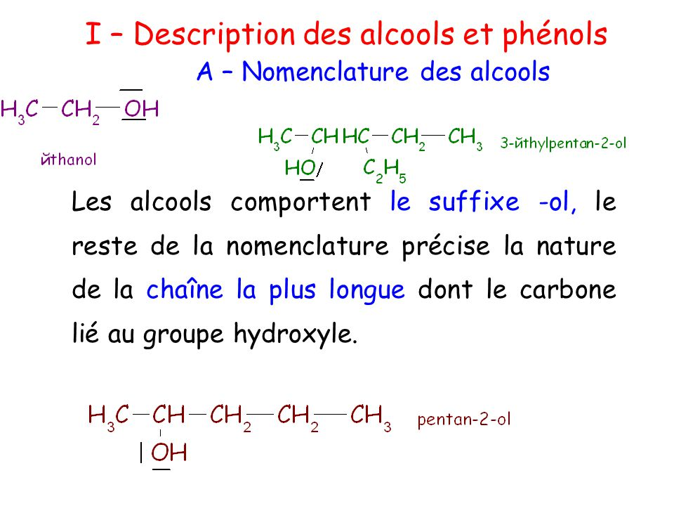 I - Les alcools et phénols Lorsqu'il s'agit d'un composé contenant plusieurs fonctions, comme le 4- hydroxypentanal : Le groupement hydroxyle (OH) indiquant la fonction alcool peut être indiqué par le préfixe « hydroxy » précédé d'un numéro indiquant sa position.