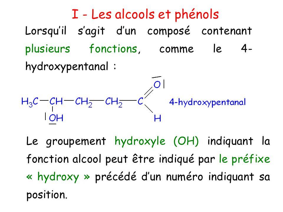 I - Les alcools et phénols L'oxygène du groupe OH possède un caractère sp 2.