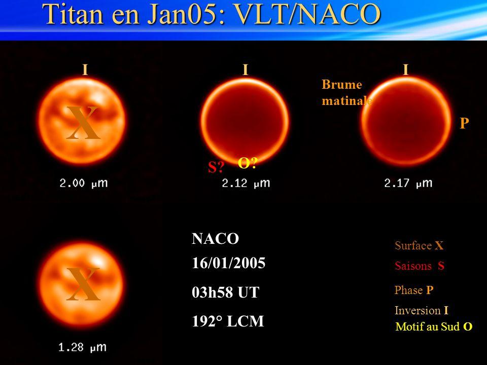 Titan en Jan05: VLT/NACO Surface X Saisons S Inversion I Motif au Sud O Phase P 16/01/2005 03h58 UT 192° LCM NACO O? X X S? III Brume matinale P