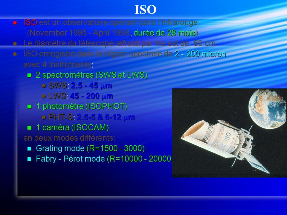  ISO  ISO est un observatoire opérant dans l'infrarouge, durée de 28 mois (November 1995 - April 1998, durée de 28 mois)   Le diamètre du télescope refroidi par He est de 60 cm.