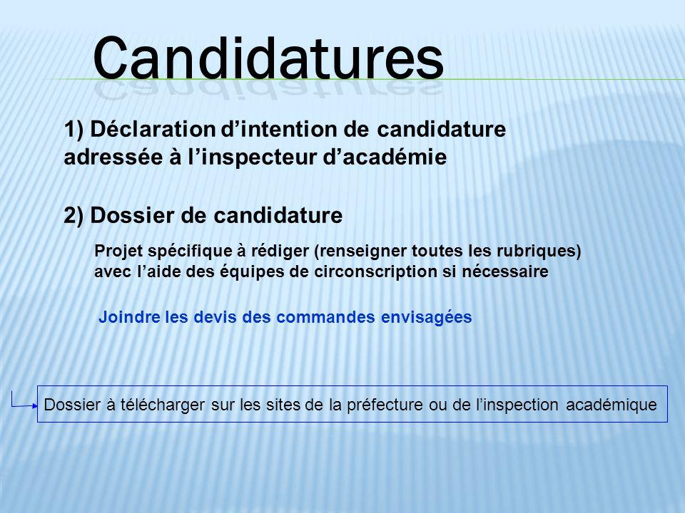 1) Déclaration d'intention de candidature adressée à l'inspecteur d'académie 2) Dossier de candidature Projet spécifique à rédiger (renseigner toutes
