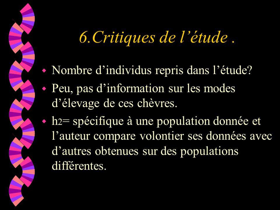6.Critiques de l'étude. w Nombre d'individus repris dans l'étude.