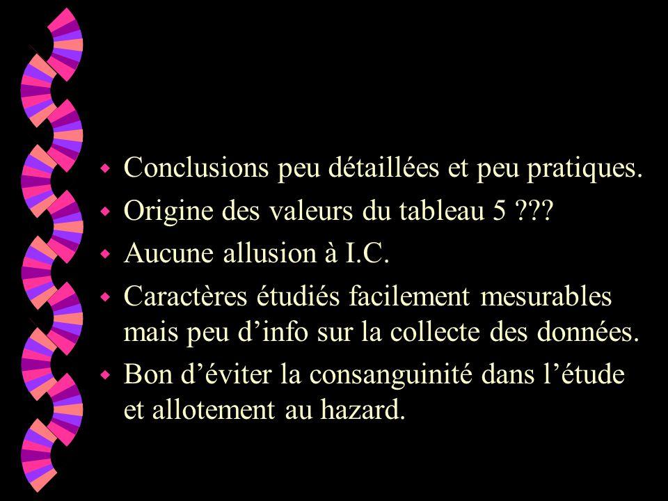 w Conclusions peu détaillées et peu pratiques. w Origine des valeurs du tableau 5 .