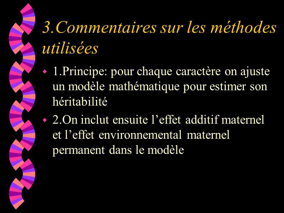 3.Commentaires sur les méthodes utilisées w 1.Principe: pour chaque caractère on ajuste un modèle mathématique pour estimer son héritabilité w 2.On inclut ensuite l'effet additif maternel et l'effet environnemental maternel permanent dans le modèle
