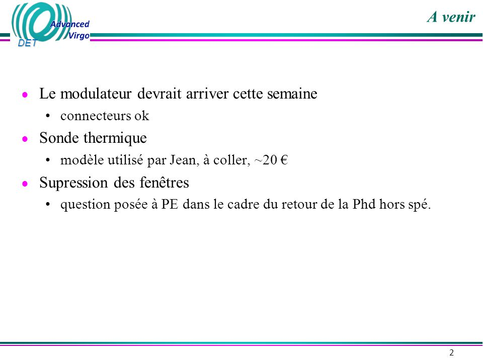 DET Signal Optique : DSP ou PS .