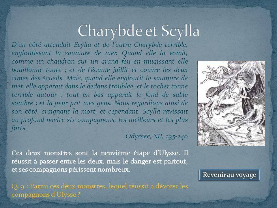 Revenir au voyage D'un côté attendait Scylla et de l'autre Charybde terrible, engloutissant la saumure de mer.