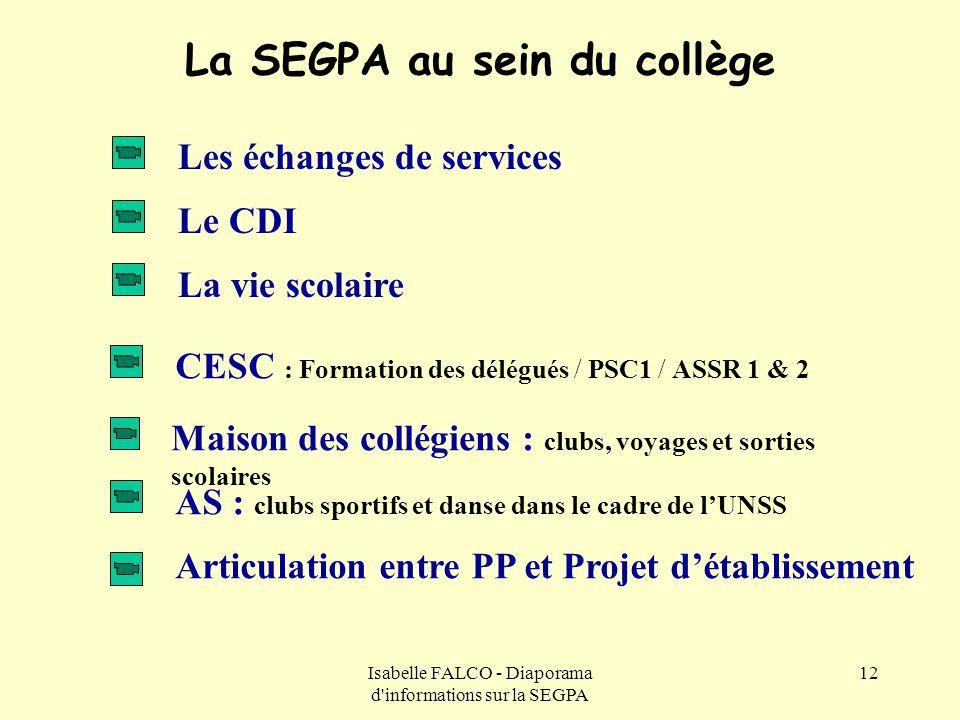 Isabelle FALCO - Diaporama d'informations sur la SEGPA 12 La SEGPA au sein du collège Les échanges de services La vie scolaire Maison des collégiens :