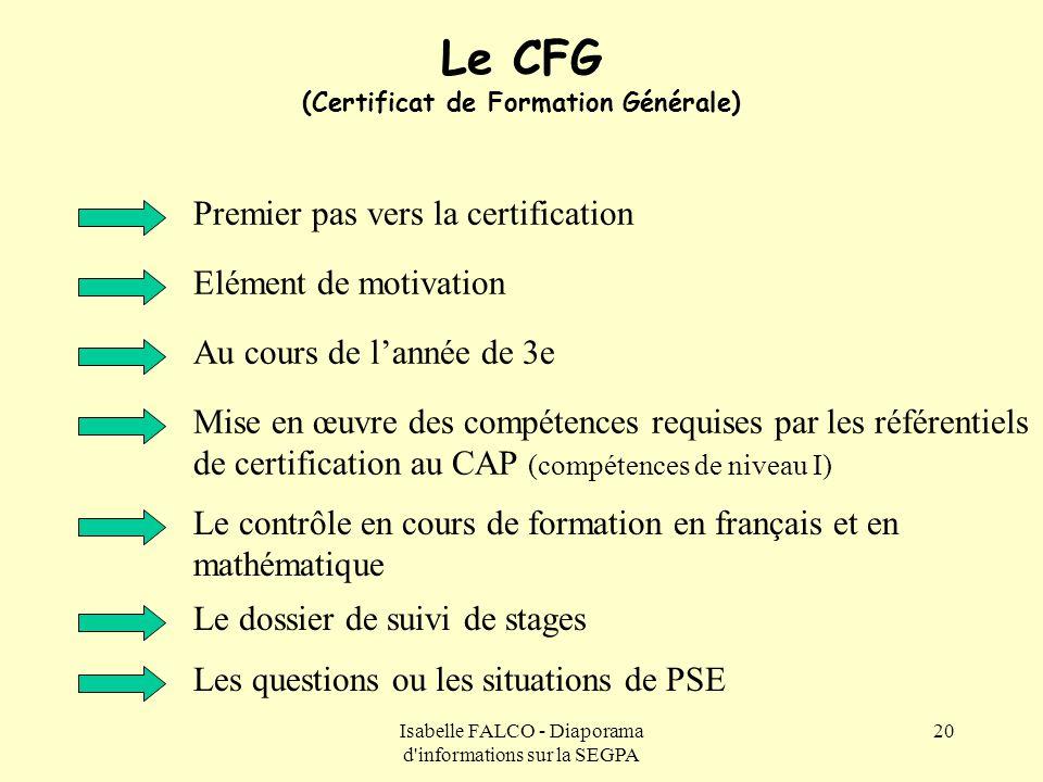 Isabelle FALCO - Diaporama d'informations sur la SEGPA 20 Le CFG (Certificat de Formation Générale) Premier pas vers la certification Mise en œuvre de