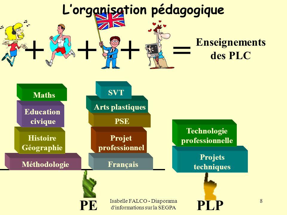 Isabelle FALCO - Diaporama d'informations sur la SEGPA 8 +++ = L'organisation pédagogique Enseignements des PLC Projets techniques Technologie profess