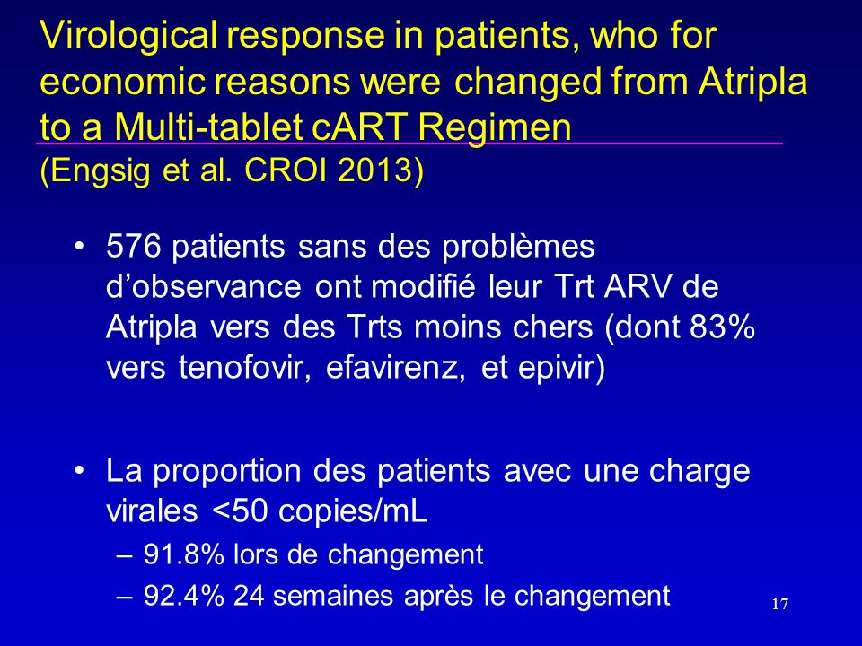 Virological response in patients, who for economic reasons were changed from Atripla to a Multi-tablet cART Regimen (Engsig et al.