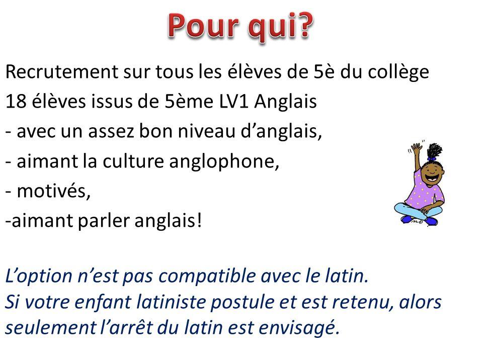Recrutement sur tous les élèves de 5è du collège 18 élèves issus de 5ème LV1 Anglais - avec un assez bon niveau d'anglais, - aimant la culture angloph