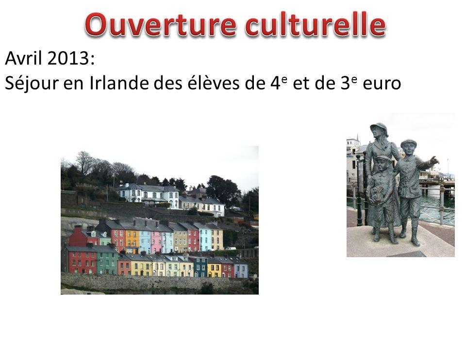 Avril 2013: Séjour en Irlande des élèves de 4 e et de 3 e euro