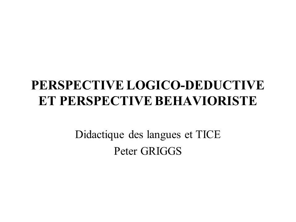 Quelques notions de bases  Conception transmissive de l'enseignement des langues étrangères  focalisation sur la forme  centration sur l'enseignant  Presentation – practice - production  Démarche déductive v démarche inductive