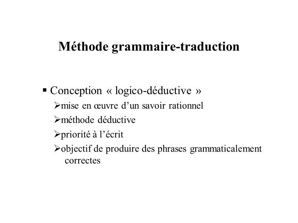 Méthode grammaire-traduction  Conception « logico-déductive »  mise en œuvre d'un savoir rationnel  méthode déductive  priorité à l'écrit  object