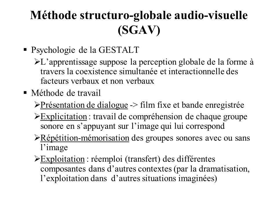 Méthode structuro-globale audio-visuelle (SGAV)  Psychologie de la GESTALT  L'apprentissage suppose la perception globale de la forme à travers la c