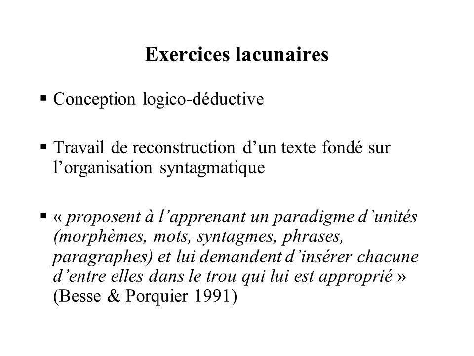 Exercices lacunaires  Conception logico-déductive  Travail de reconstruction d'un texte fondé sur l'organisation syntagmatique  « proposent à l'app