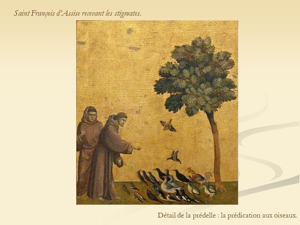 Saint François d'Assise recevant les stigmates. Détail de la prédelle : la prédication aux oiseaux.