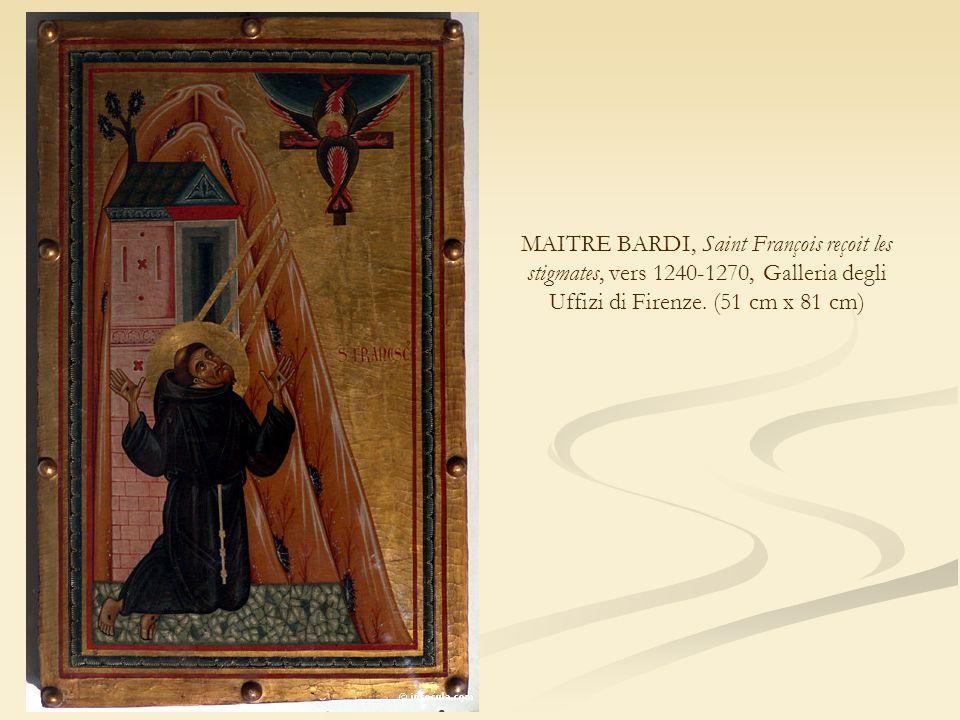 MAITRE BARDI, Saint François reçoit les stigmates, vers 1240-1270, Galleria degli Uffizi di Firenze. (51 cm x 81 cm)