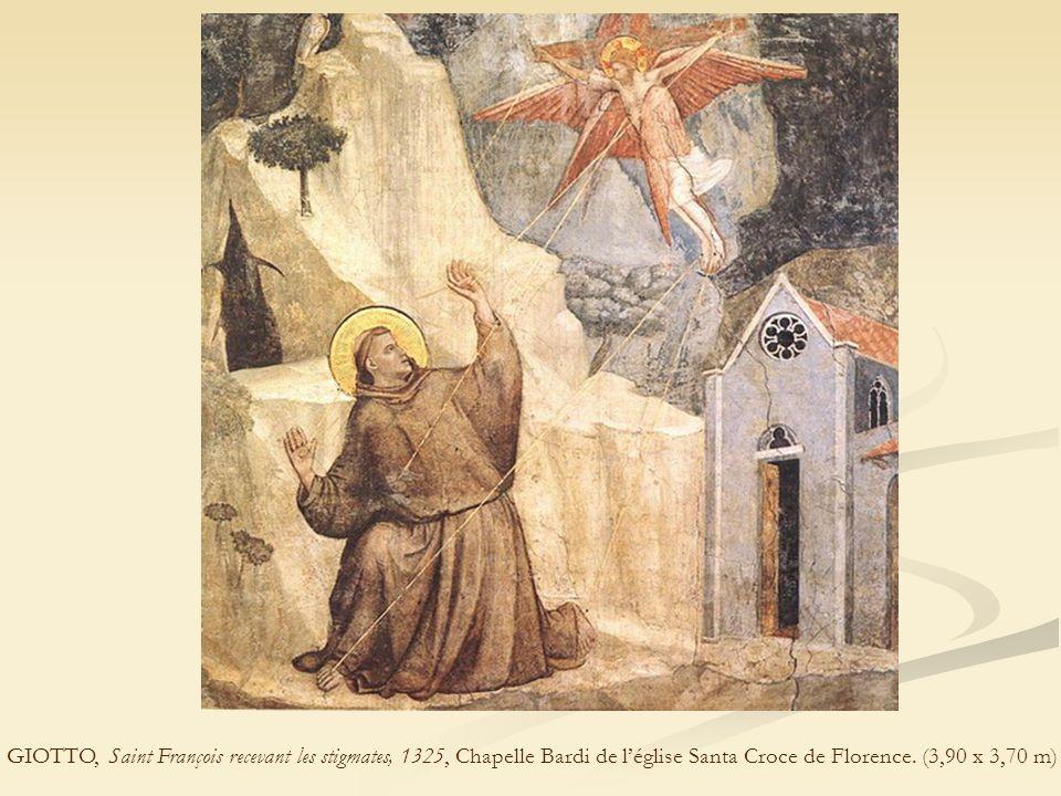 GIOTTO, Saint François recevant les stigmates, 1325, Chapelle Bardi de l'église Santa Croce de Florence. (3,90 x 3,70 m)