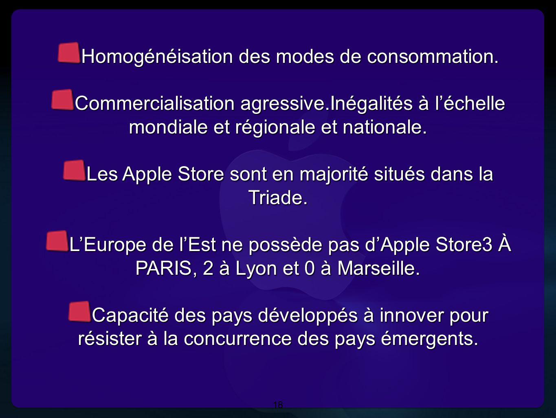 18 Homogénéisation des modes de consommation. Commercialisation agressive.Inégalités à l'échelle mondiale et régionale et nationale. Les Apple Store s