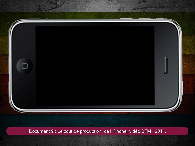 4 Document 9 : Le cout de production de l'iPhone, vidéo BFM, 2011.