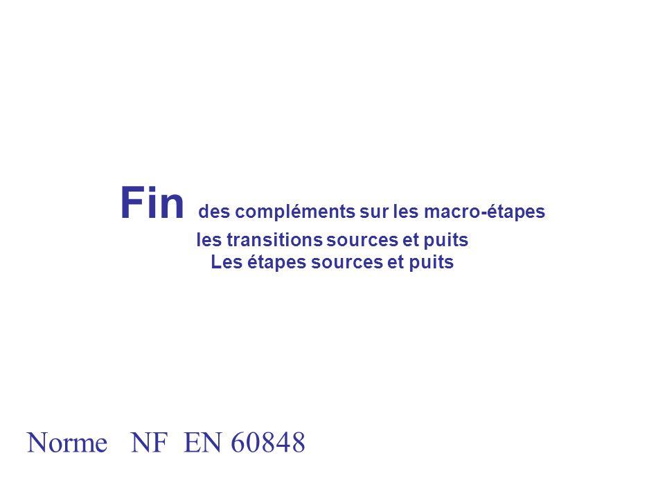 Fin des compléments sur les macro-étapes les transitions sources et puits Les étapes sources et puits Norme NF EN 60848