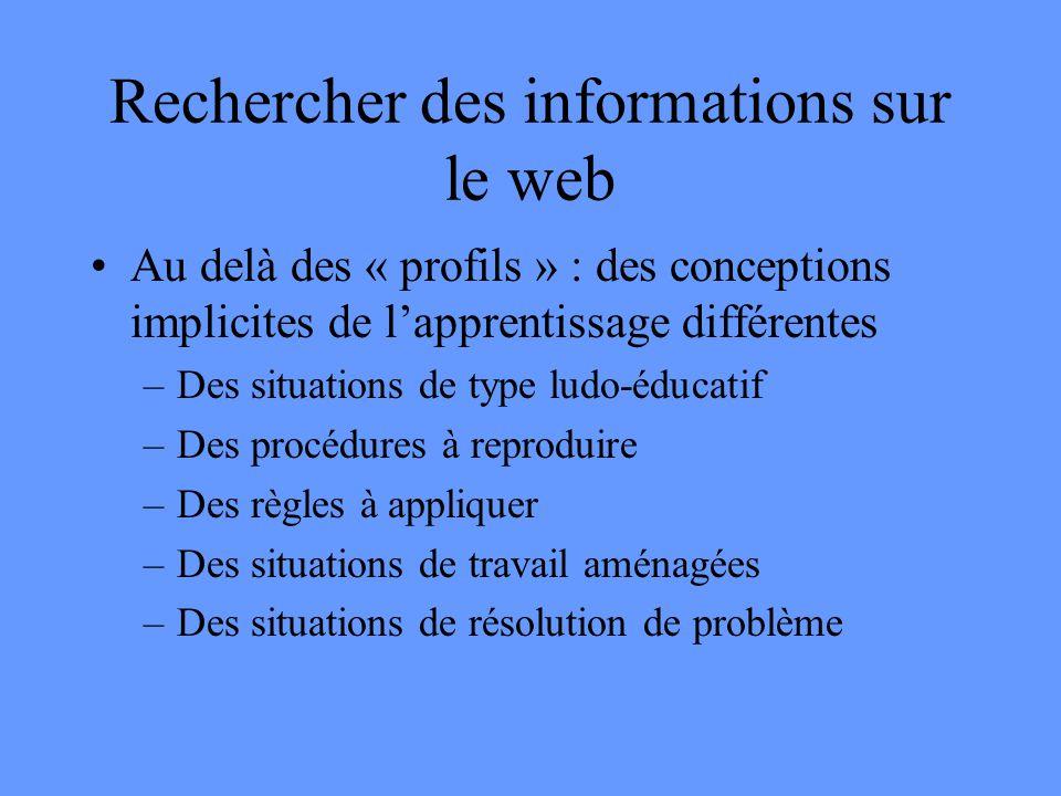 Rechercher des informations sur le web •Au delà des « profils » : des conceptions implicites de l'apprentissage différentes –Des situations de type ludo-éducatif –Des procédures à reproduire –Des règles à appliquer –Des situations de travail aménagées –Des situations de résolution de problème