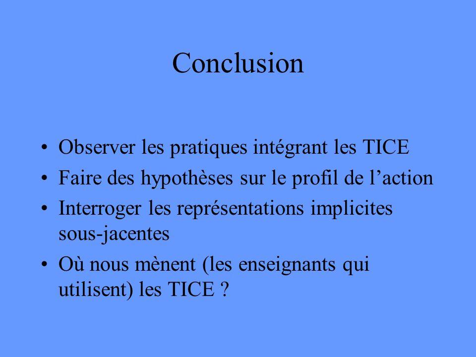Conclusion •Observer les pratiques intégrant les TICE •Faire des hypothèses sur le profil de l'action •Interroger les représentations implicites sous-jacentes •Où nous mènent (les enseignants qui utilisent) les TICE ?