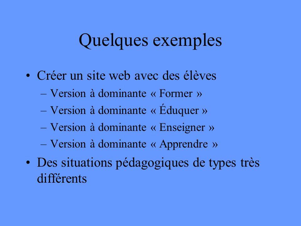 Quelques exemples •Créer un site web avec des élèves –Version à dominante « Former » –Version à dominante « Éduquer » –Version à dominante « Enseigner » –Version à dominante « Apprendre » •Des situations pédagogiques de types très différents