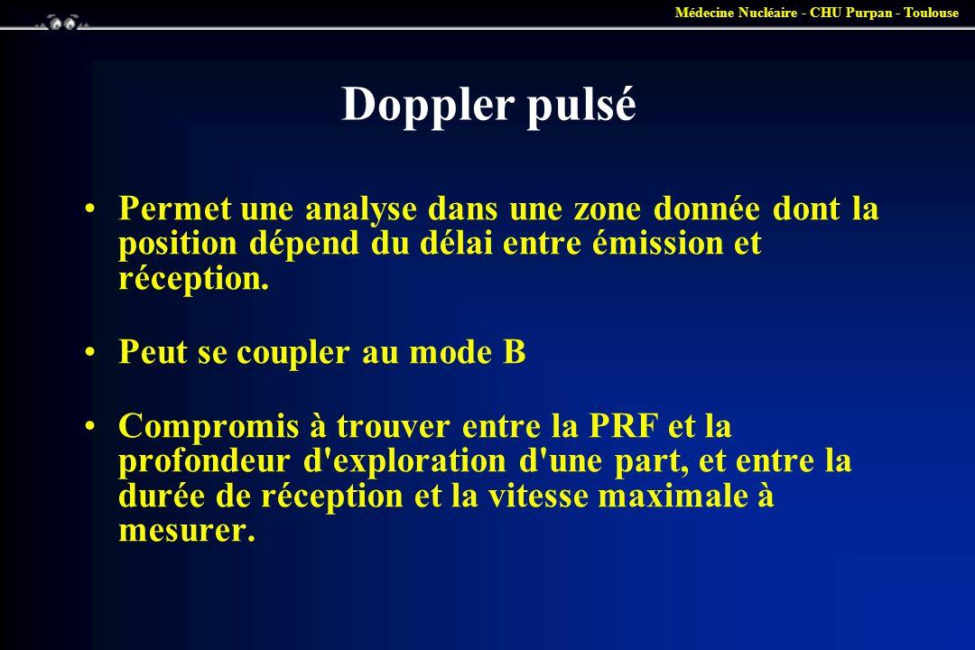 Médecine Nucléaire - CHU Purpan - Toulouse Doppler pulsé •Permet une analyse dans une zone donnée dont la position dépend du délai entre émission et r
