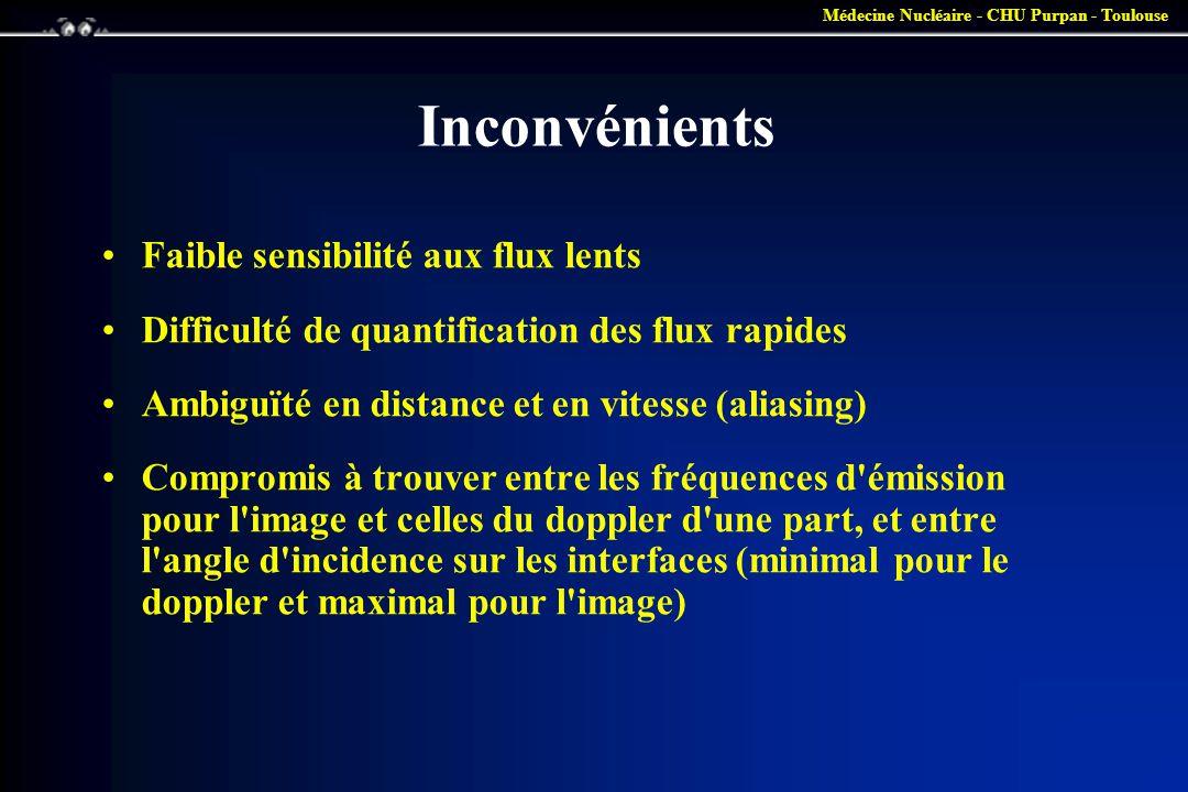 Médecine Nucléaire - CHU Purpan - Toulouse Inconvénients •Faible sensibilité aux flux lents •Difficulté de quantification des flux rapides •Ambiguïté