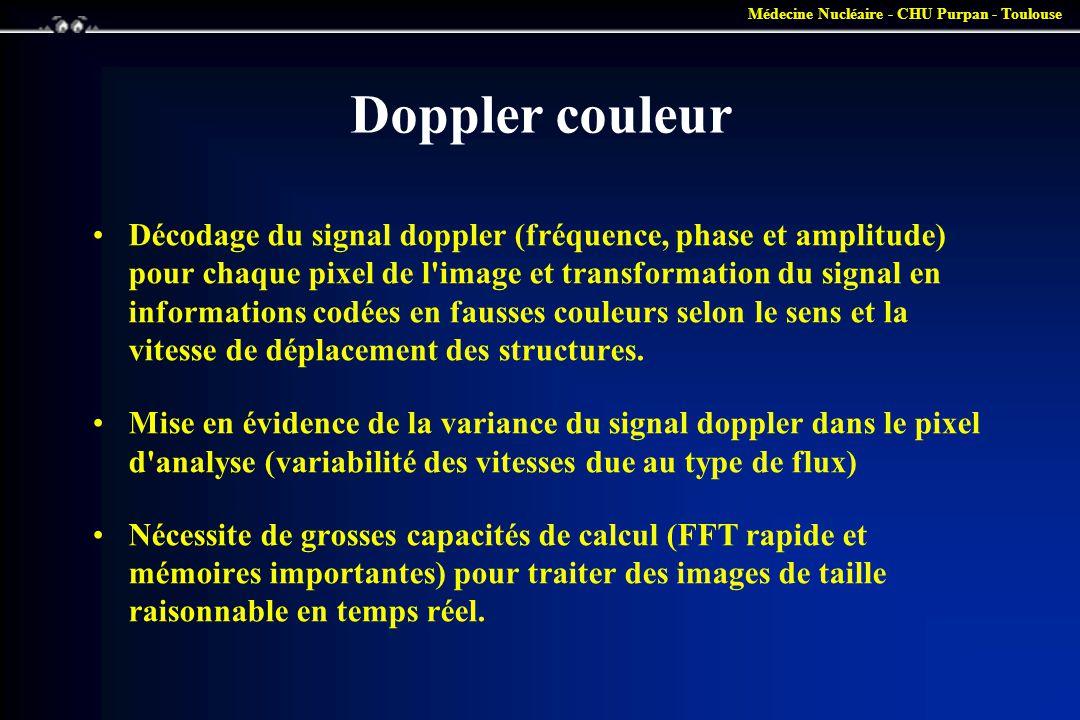 Médecine Nucléaire - CHU Purpan - Toulouse Doppler couleur •Décodage du signal doppler (fréquence, phase et amplitude) pour chaque pixel de l'image et
