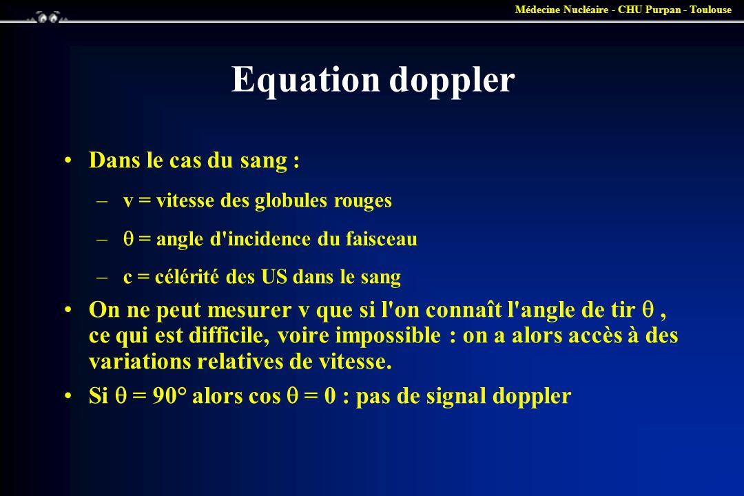 Médecine Nucléaire - CHU Purpan - Toulouse Equation doppler •Dans le cas du sang : – v = vitesse des globules rouges –  = angle d'incidence du faisce
