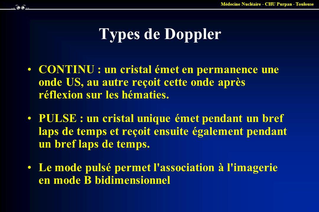 Médecine Nucléaire - CHU Purpan - Toulouse Types de Doppler •CONTINU : un cristal émet en permanence une onde US, au autre reçoit cette onde après réf