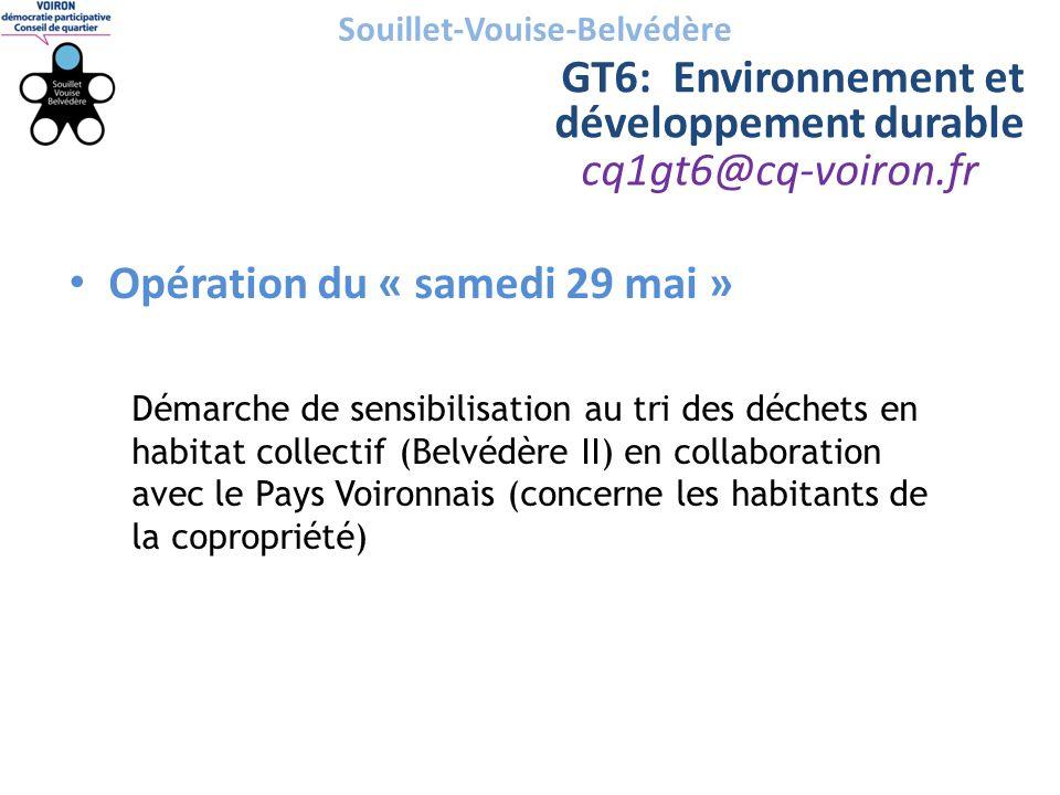 cq1gt6@cq-voiron.fr Souillet-Vouise-Belvédère GT6: Environnement et développement durable • Opération du « samedi 29 mai » Démarche de sensibilisation