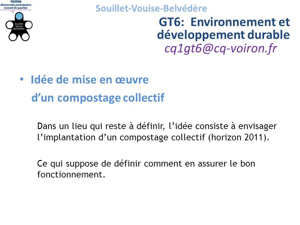 cq1gt6@cq-voiron.fr Souillet-Vouise-Belvédère GT6: Environnement et développement durable • Idée de mise en œuvre d'un compostage collectif Dans un li