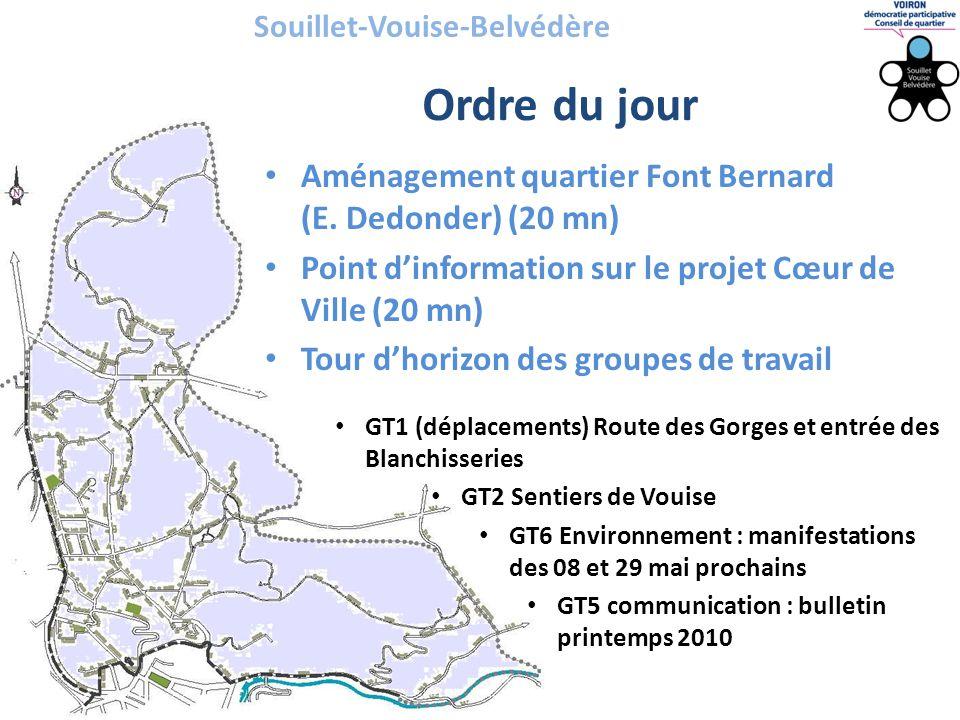 Souillet-Vouise-Belvédère • Aménagement quartier Font Bernard (E. Dedonder) (20 mn) • Point d'information sur le projet Cœur de Ville (20 mn) • Tour d