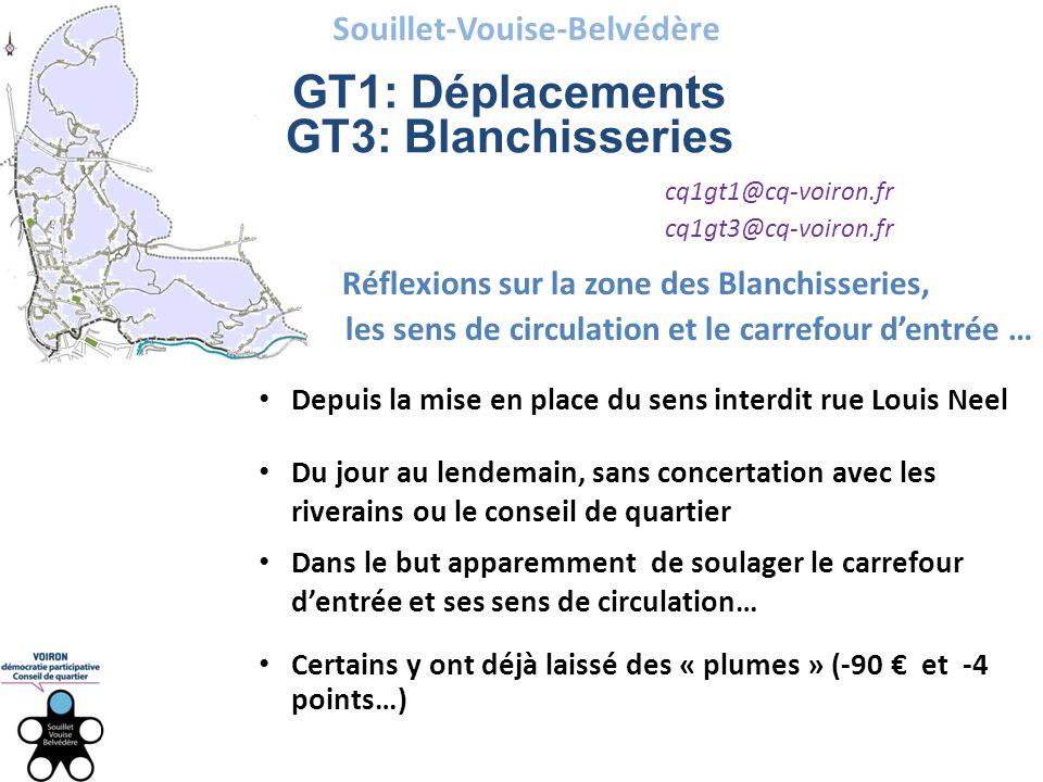 Souillet-Vouise-Belvédère GT1: Déplacements GT3: Blanchisseries cq1gt1@cq-voiron.fr cq1gt3@cq-voiron.fr Réflexions sur la zone des Blanchisseries, les