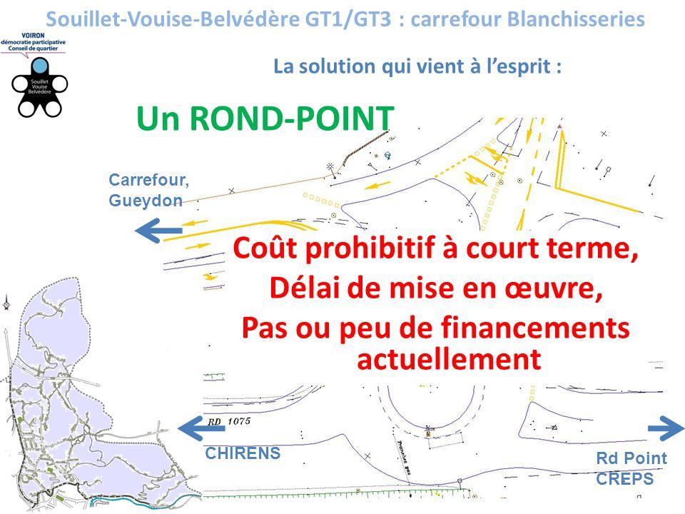 Un ROND-POINT Souillet-Vouise-Belvédère GT1/GT3 : carrefour Blanchisseries La solution qui vient à l'esprit : Coût prohibitif à court terme, Délai de