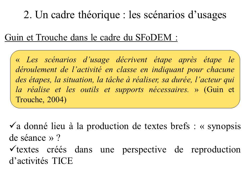 2. Un cadre théorique : les scénarios d'usages Guin et Trouche dans le cadre du SFoDEM : « Les scénarios d'usage décrivent étape après étape le déroul