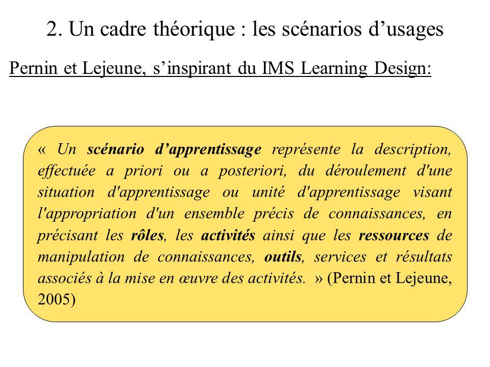 2. Un cadre théorique : les scénarios d'usages Pernin et Lejeune, s'inspirant du IMS Learning Design: « Un scénario d'apprentissage représente la desc