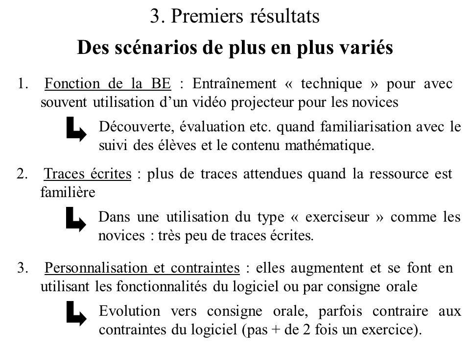 3. Premiers résultats Des scénarios de plus en plus variés 1. Fonction de la BE : Entraînement « technique » pour avec souvent utilisation d'un vidéo
