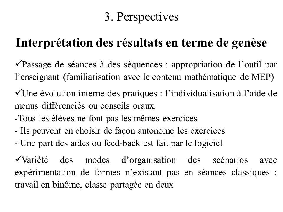 3. Perspectives Interprétation des résultats en terme de genèse  Passage de séances à des séquences : appropriation de l'outil par l'enseignant (fami