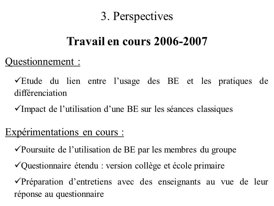 3. Perspectives Travail en cours 2006-2007  Etude du lien entre l'usage des BE et les pratiques de différenciation  Impact de l'utilisation d'une BE