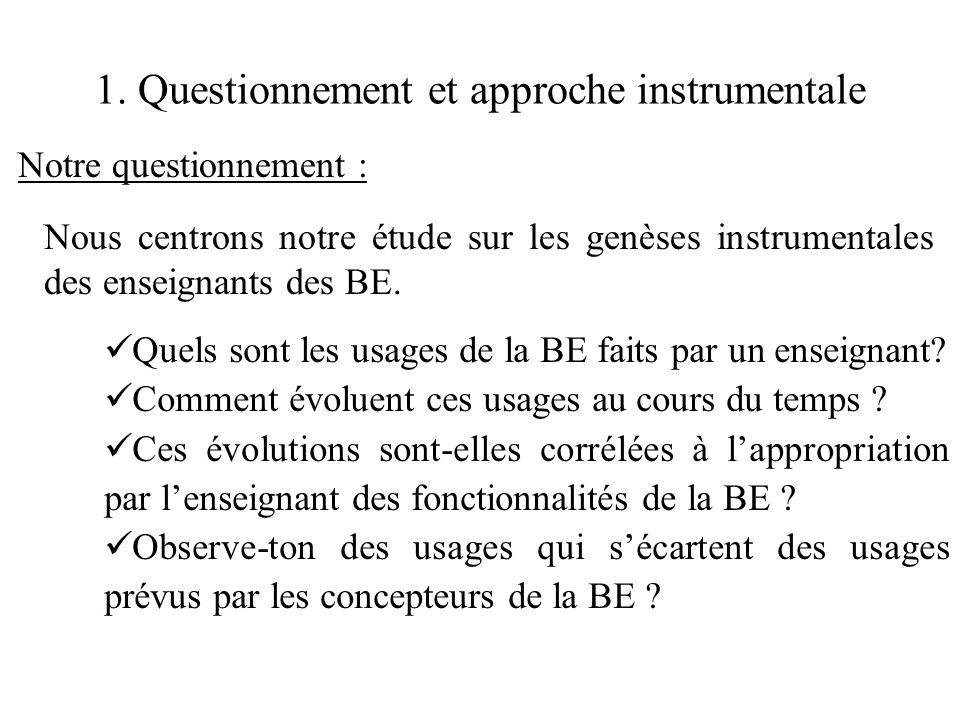 1. Questionnement et approche instrumentale Notre questionnement : Nous centrons notre étude sur les genèses instrumentales des enseignants des BE. 