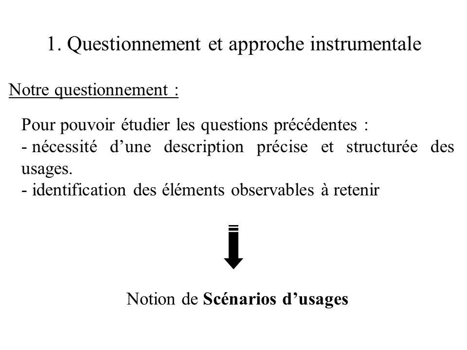 1. Questionnement et approche instrumentale Notre questionnement : Pour pouvoir étudier les questions précédentes : - nécessité d'une description préc