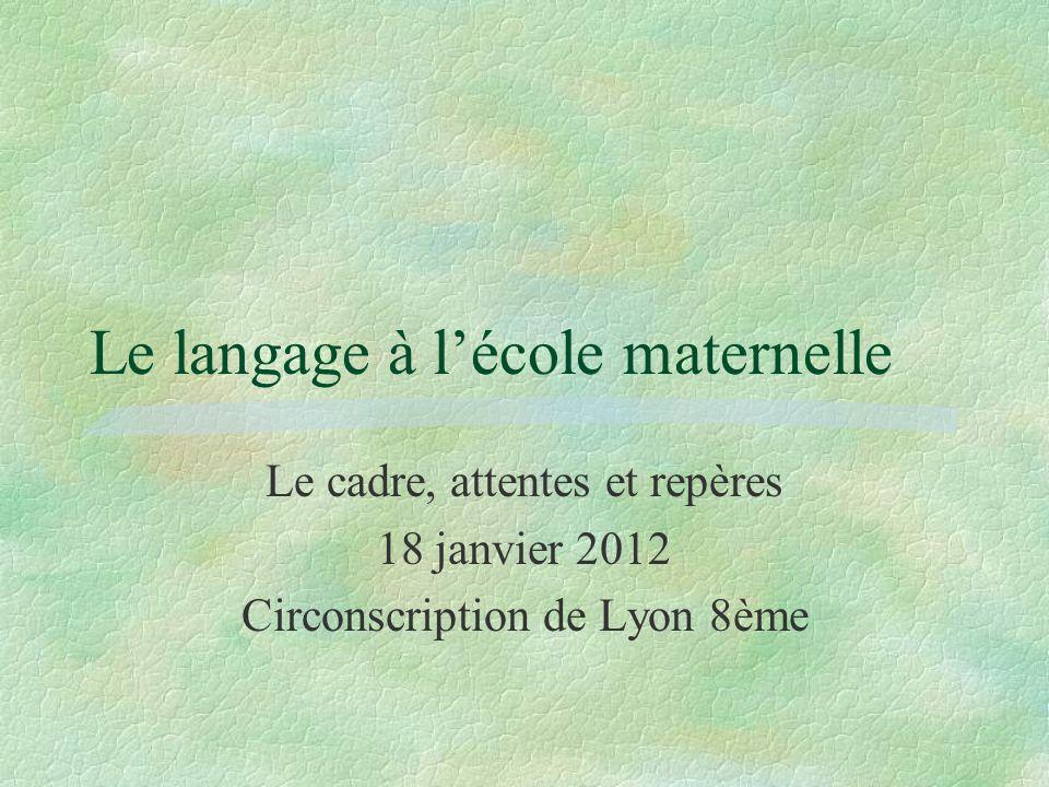 Le langage à l'école maternelle Le cadre, attentes et repères 18 janvier 2012 Circonscription de Lyon 8ème