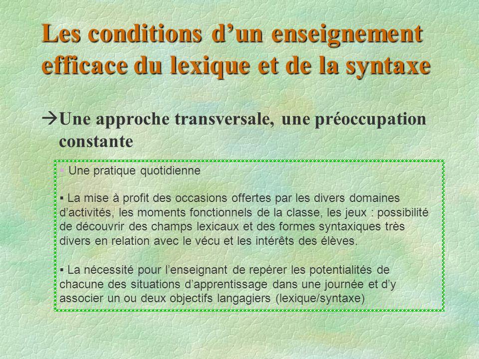 Les conditions d'un enseignement efficace du lexique et de la syntaxe  Une approche transversale, une préoccupation constante  Une pratique quotidie