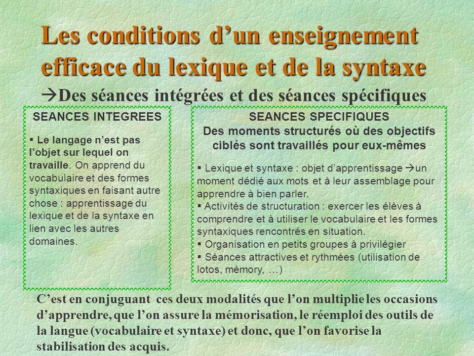 Les conditions d'un enseignement efficace du lexique et de la syntaxe  Des séances intégrées et des séances spécifiques SEANCES INTEGREES  Le langag