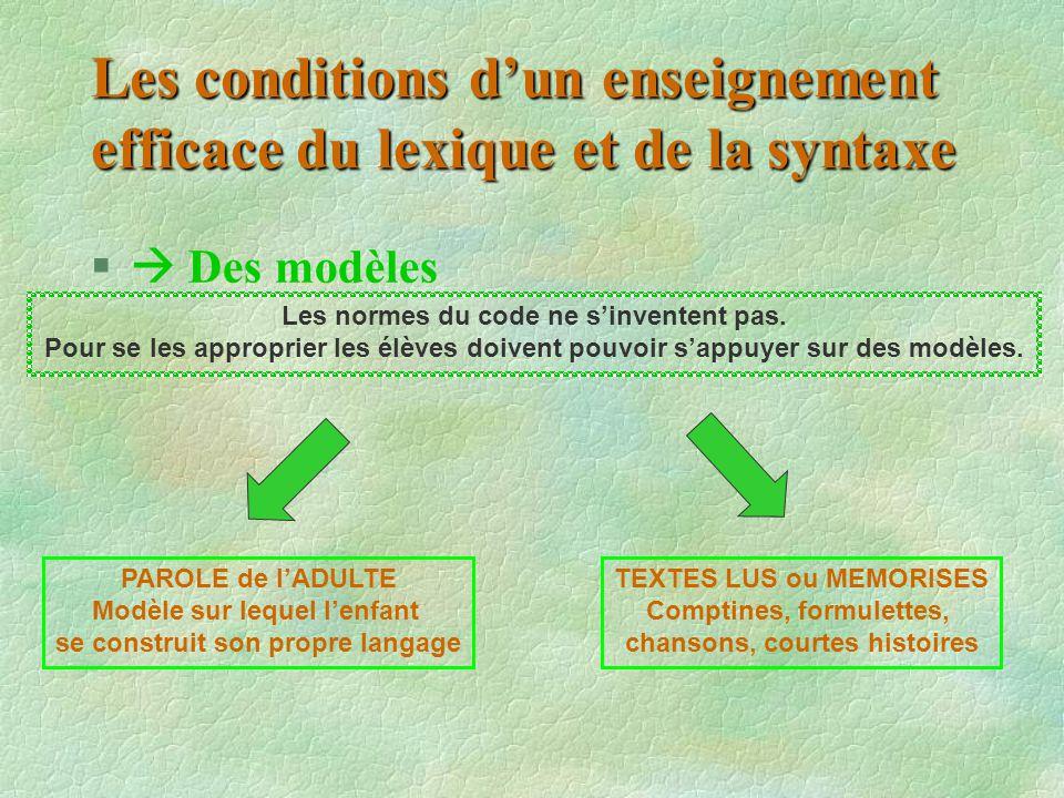 Les conditions d'un enseignement efficace du lexique et de la syntaxe §  Des modèles Les normes du code ne s'inventent pas. Pour se les approprier le